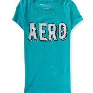 Camiseta Aeropostale Graphic T con lentejuelas turquesa