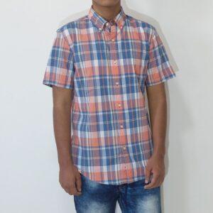 Camisa Sonoma manga corta con bolsillo a cuadros coral