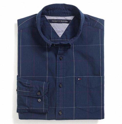 Camisa Tommy Hilfiger Custom Fit lineas cruzadas manga larga