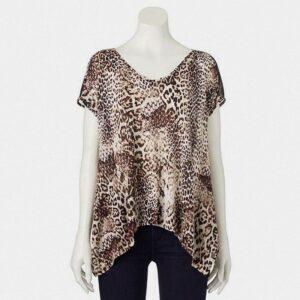 Blusa Jennifer Lopez estampado leopardo