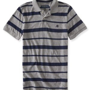 Polo Aeropostale A87 Heritage Franjas Jersey gris