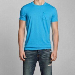 Camiseta Abercrombie Pocket Crew celeste