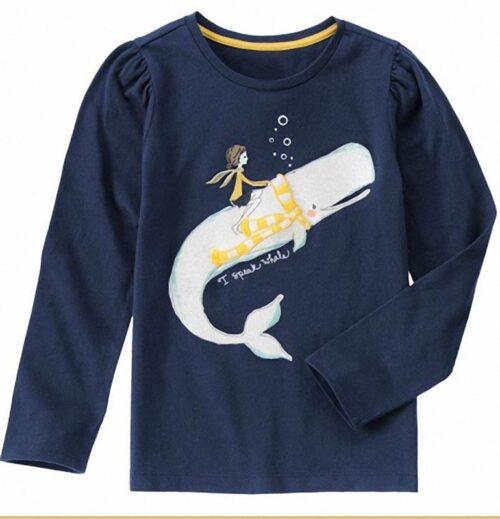 Camiseta Gymboree I Speak Whale Sparkle azul oscuro