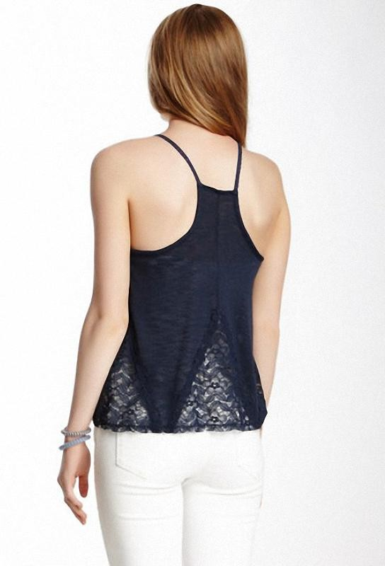 Blusa Elodie Lace Detail Racerback Cami azul oscuro