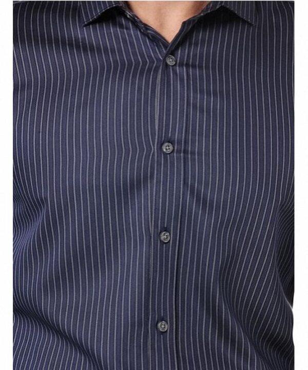 Camisa Perry Ellis Slim Fit Sateen Stripe azul marino