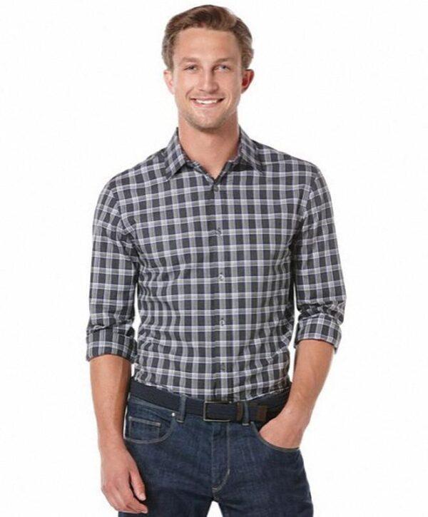 Camisa Perry Ellis Long Sleeve Window Plaid negro