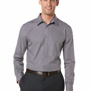 Camisa Perry Ellis Long Sleeve Checkered gris