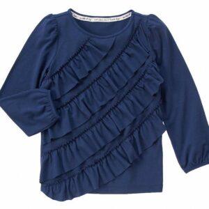 Camiseta Gymboree  Ruffle con pliegues manga larga azul marino