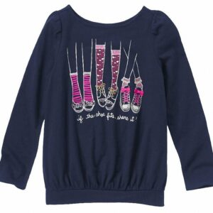 Camiseta Gymboree Sparkle Shoes manga larga azul oscuro