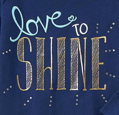 Camiseta Gymboree Love to Shine manga larga azul marino