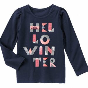 Camiseta Gymboree Hello Winter Sparkle manga larga azul oscuro