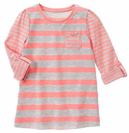 Camiseta Gymboree Multi-Striped Pocket manga larga rosa bebe