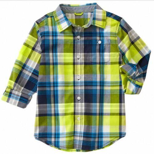 Camisa Gymboree Plaid a cuadros verde claro
