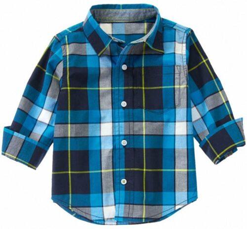 Camisa Gymboree Plaid a cuadros manga larga azul oscuro