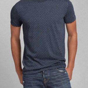 Camiseta Abercrombie Dot Print Crew azul marino