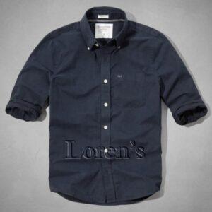 Camisa Abercrombie Iroquois Mountain manga larga azul marino