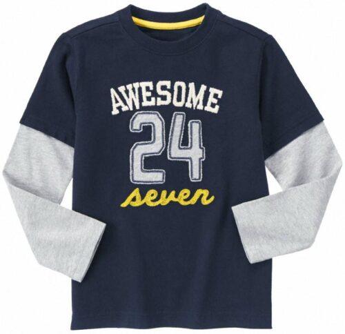 Camiseta Gymboree Awesome 24 Seven manga larga azul oscuro