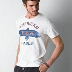 Camiseta American Eagle Signature Graphic manga corta blanco