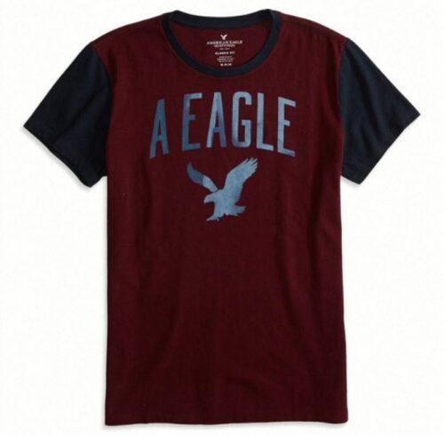 Camiseta American Eagle Factory Signature manga corta vino tinto