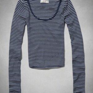 Camiseta Abercrombie Valerie Crop Top manga larga azul oscuro