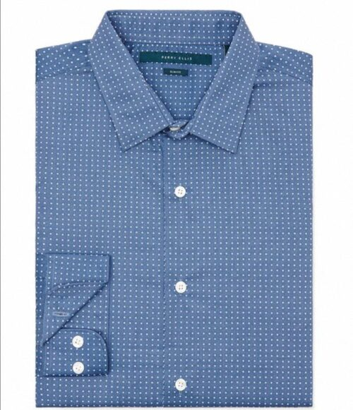 Camisa Perry Ellis Slim Fit Print Dot manga larga