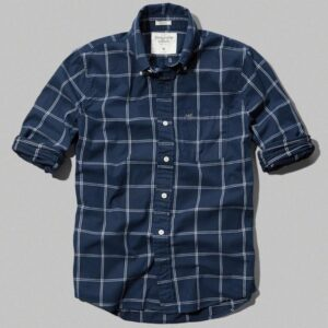 Camisa Abercrombie Plaid Cotton Pocket manga larga