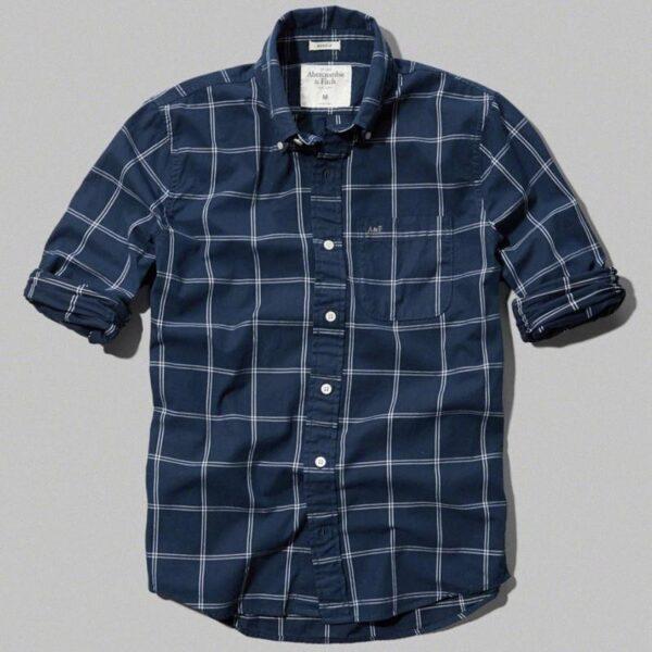 Camisa Abercrombie Plaid Cotton Pocket manga larga